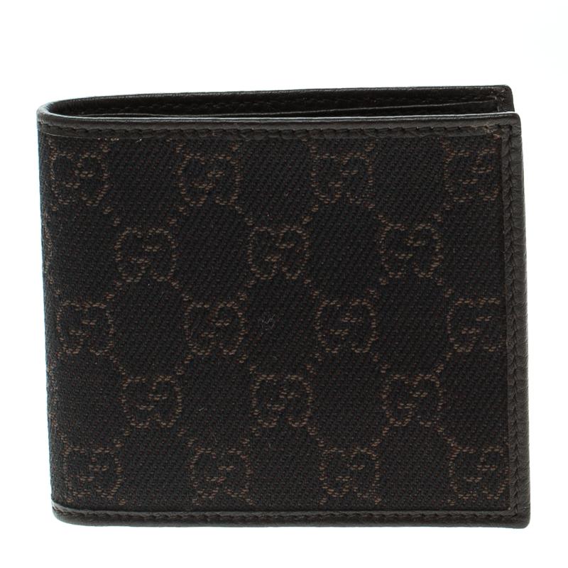 416637c68080bb ... Gucci Dark Brown GG Canvas and Leather Bi Fold Wallet. nextprev.  prevnext