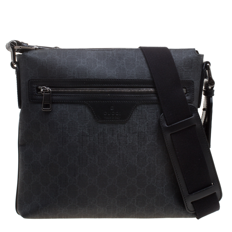 03ef96f9a Buy Gucci Black GG Supreme Canvas Messenger Bag 115847 at best price ...