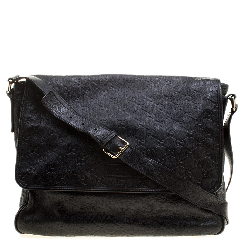 dba61b46b ... Gucci Black Guccissima Leather Messenger Bag. nextprev. prevnext