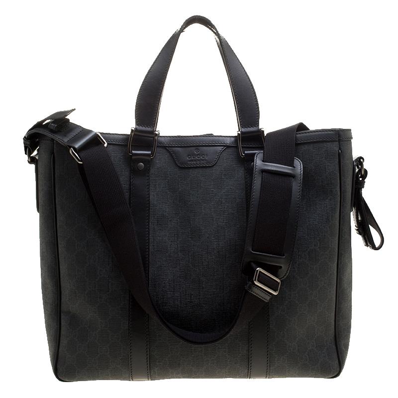 b08f2934f8f Buy Gucci Grey Black GG Supreme Canvas Tote 137896 at best price