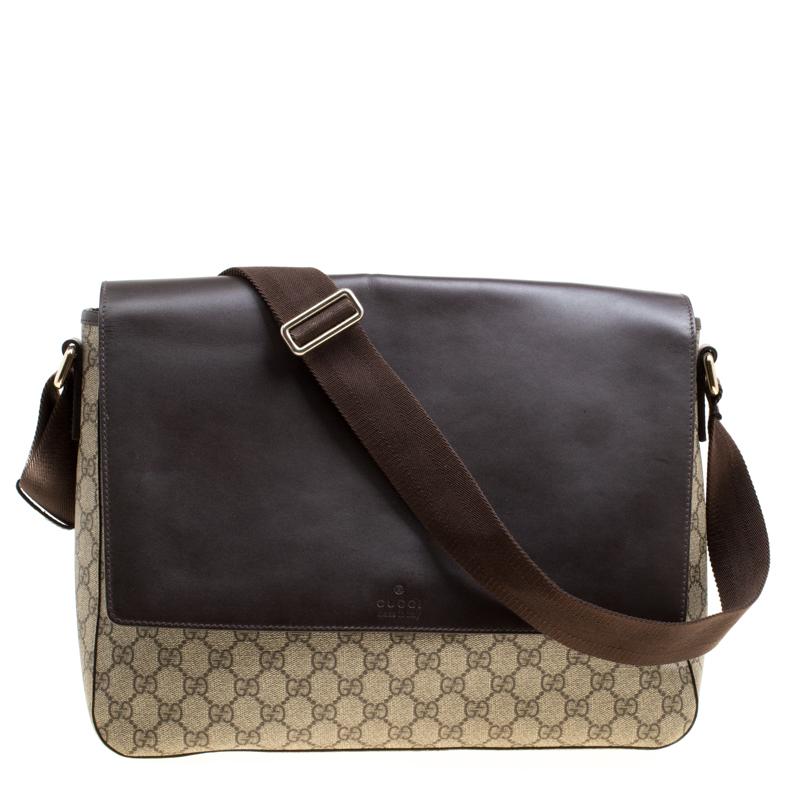0c2f33307fe3 ... Gucci Beige/Brown GG Surpreme Canvas and Leather Messenger Bag.  nextprev. prevnext