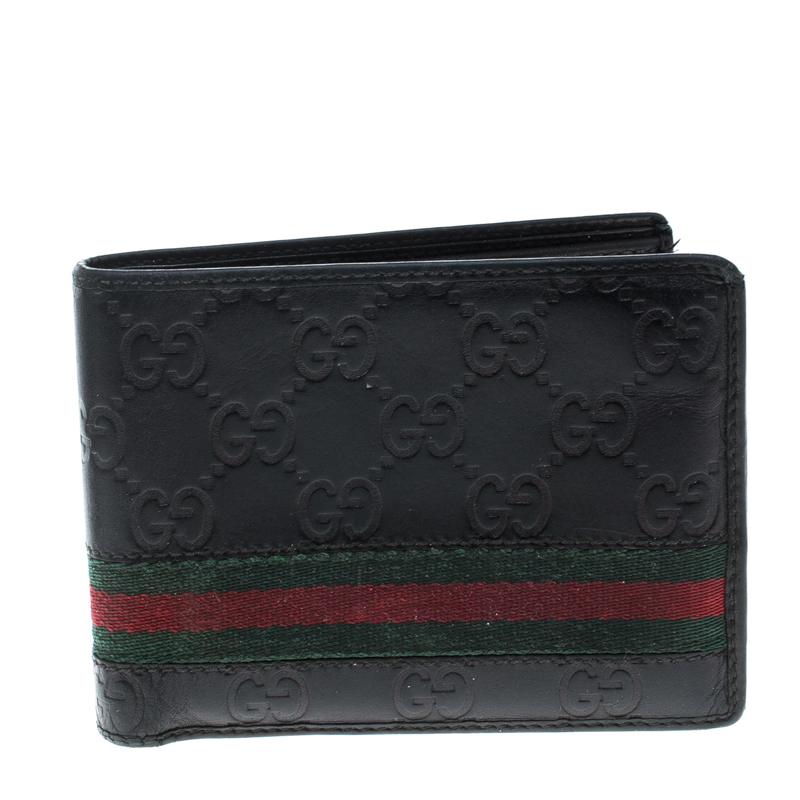 dfb71d3dcc4 ... Gucci Black Guccissima Leather Web Bifold Wallet. nextprev. prevnext