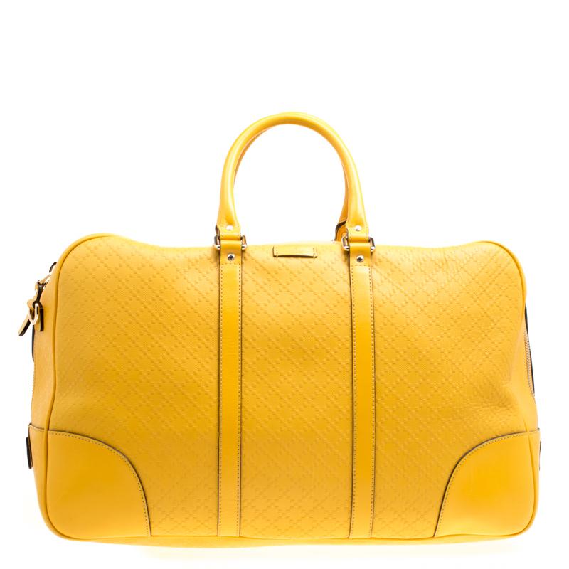 Купить со скидкой Gucci Mustard Diamante Leather Medium Duffle Bag