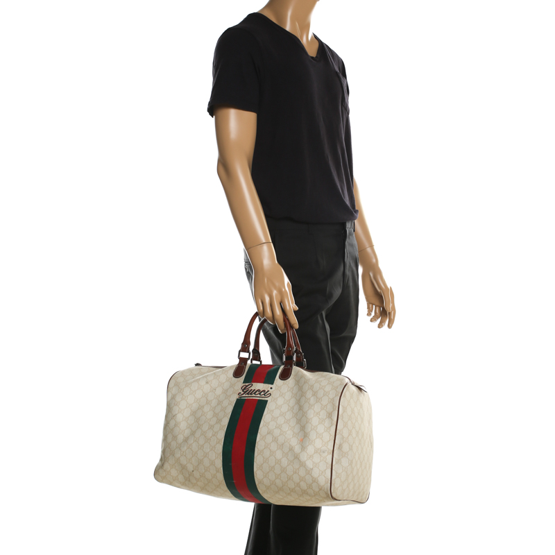 Gg Supreme Coated Canvas Web Duffle Bag