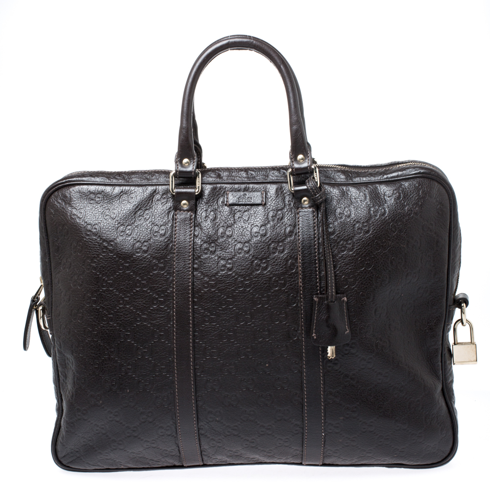 Gucci Dark Brown Guccissima Leather Laptop Bag
