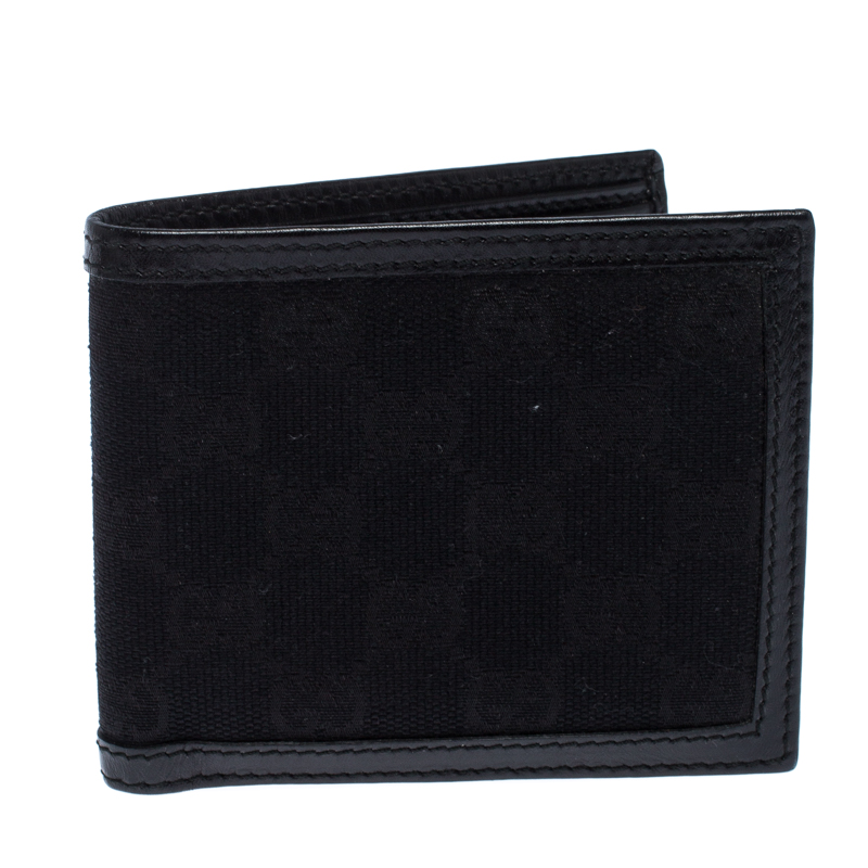 Gucci Black GG Canvas and Leather Bifold Wallet