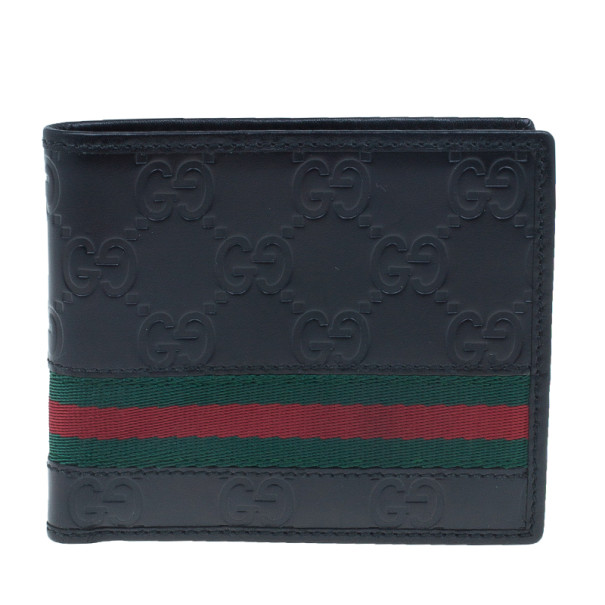 f8d4dc5bf44 ... Gucci Black Leather Guccissima Web Bi-Fold Wallet. nextprev. prevnext