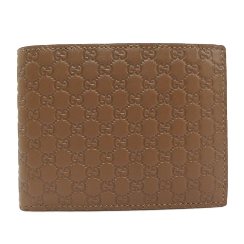 Pre-owned Gucci Ssima Leather Wallet In Brown