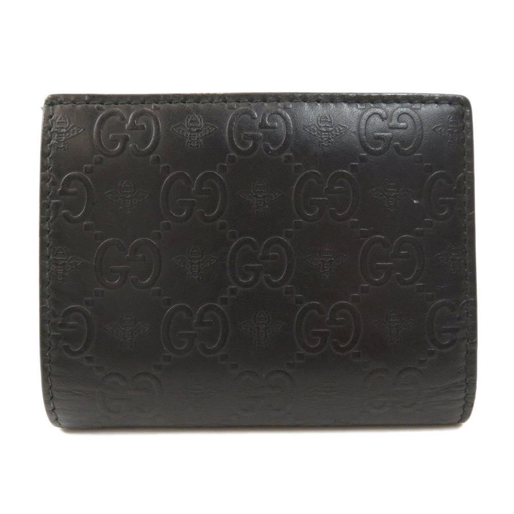 Pre-owned Gucci Ssima Leather Bifold Wallet In Black