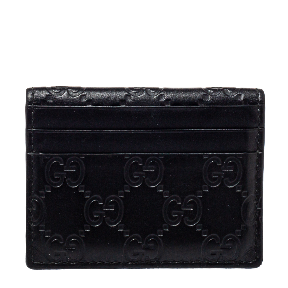 Pre-owned Gucci Ssima Leather Bifold Card Holder In Black