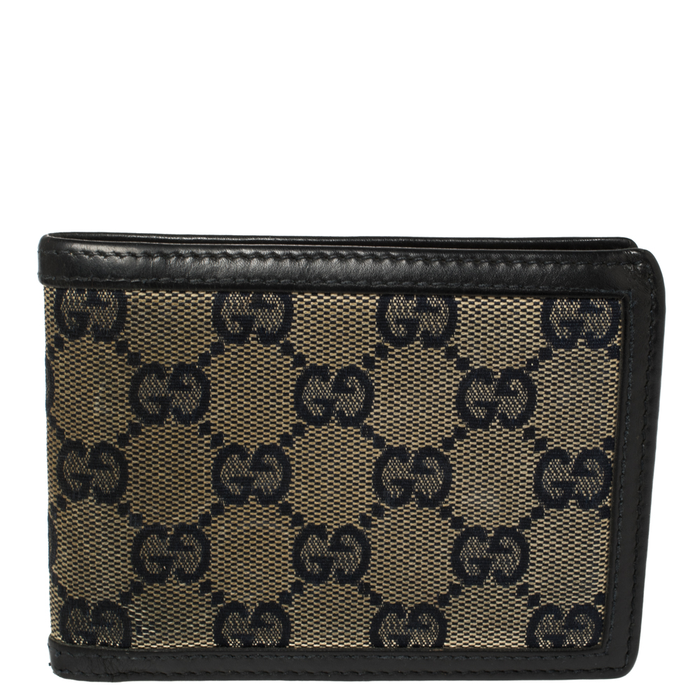 Pre-owned Gucci Beige/navy Blue Gg Canvas And Leather Bifold Wallet