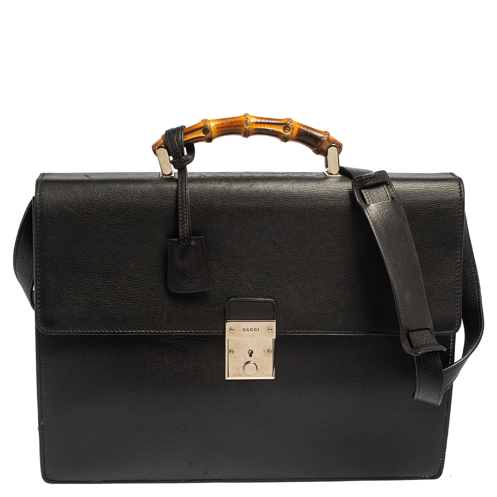 GUCCI BLACK LEATHER BAMBOO HANDLE BRIEFCASE