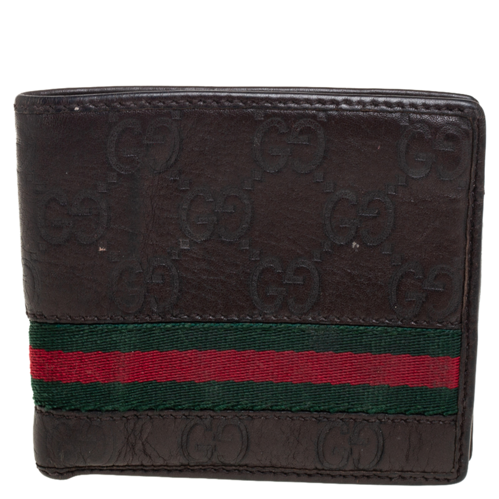 Pre-owned Gucci Ssima Leather Web Bifold Wallet In Brown