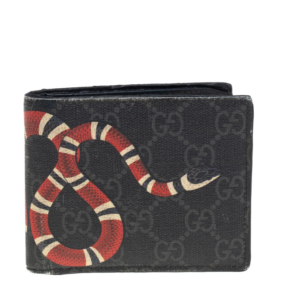 Pre-owned Gucci Grey Gg Supreme Canvas Kingsnake Print Bifold Wallet