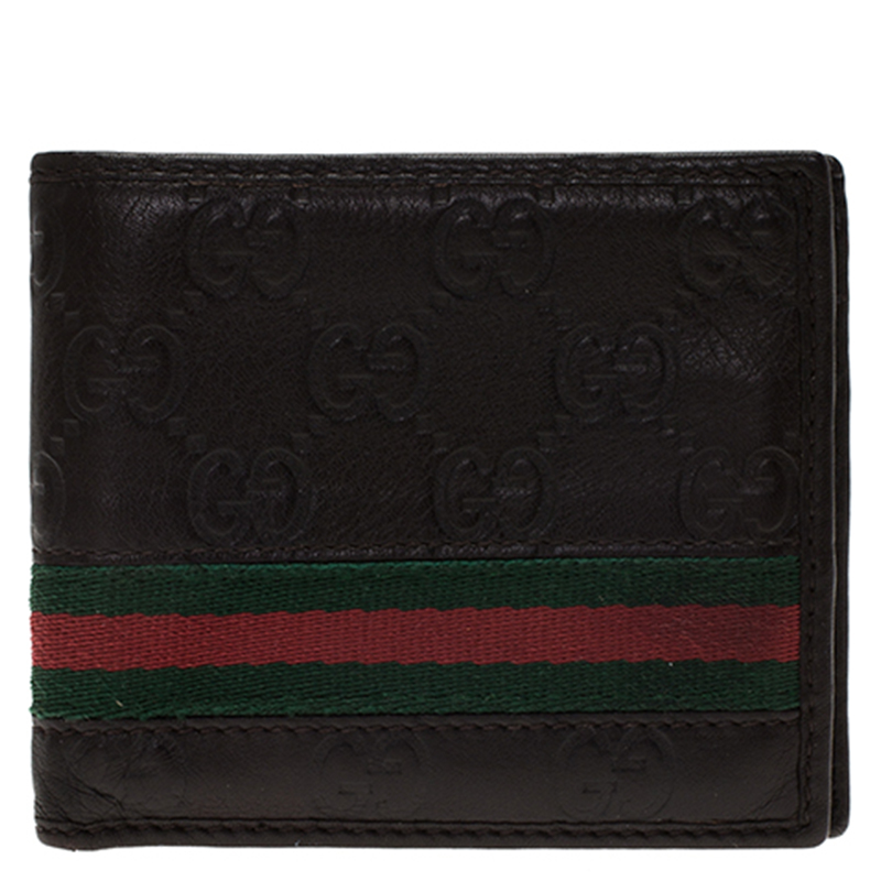 516cac6cbed Buy Gucci Dark Brown Guccissima Leather Web Bi Fold Wallet 84937 at best  price