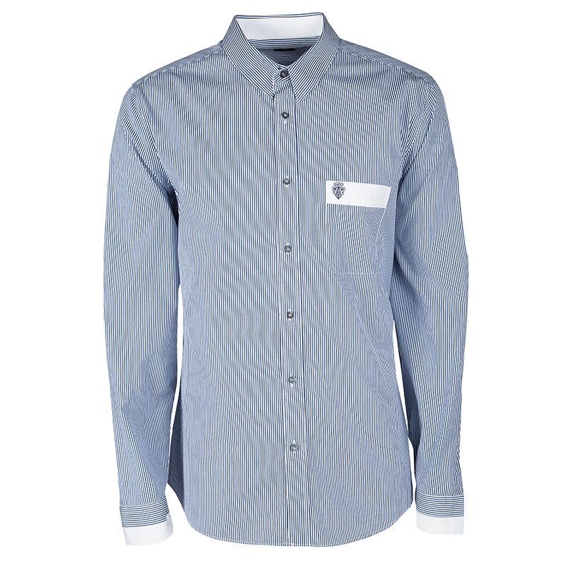 464edced7 ... Gucci Blue and White Striped Cotton Logo Embroidered Pocket Detail Slim  Fit Shirt 4XL. nextprev. prevnext