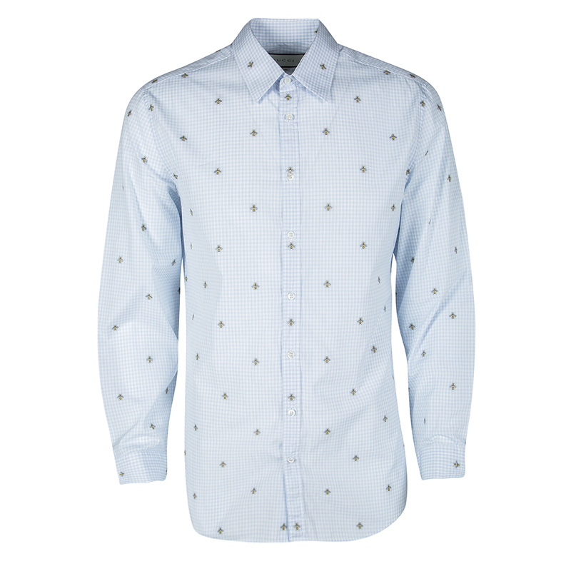 09d5230bc8ee Buy Gucci Blue and White Checked Bee Embroidered Button Front Long ...
