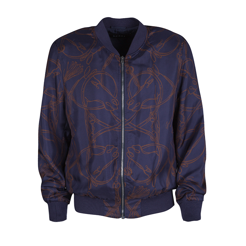 640726eef Buy Gucci Navy Blue Horse Printed Silk Zip Front Bomber Jacket M ...
