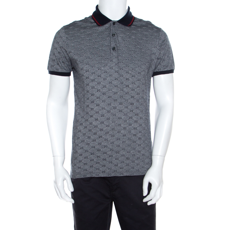 55ccd37a14e Buy Gucci Navy Blue and White Monogram Jacquard Knit Polo T-Shirt L ...