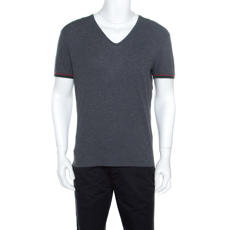 2f7793215 ... Gucci Grey Cotton Melange Web Stripe Trim V Neck T-Shirt S. nextprev.  prevnext