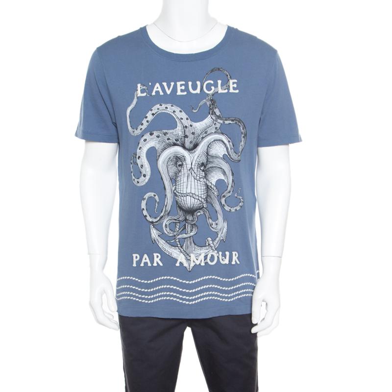 2daceb91 Buy Gucci L'Aveugle Par Amour Blue Octopus Print Applique Detail ...