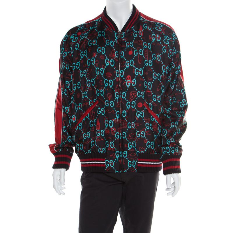 01f9d093 Gucci Multicolor Monogram Printed Silk Raglan Sleeve Ghost Bomber Jacket XXL