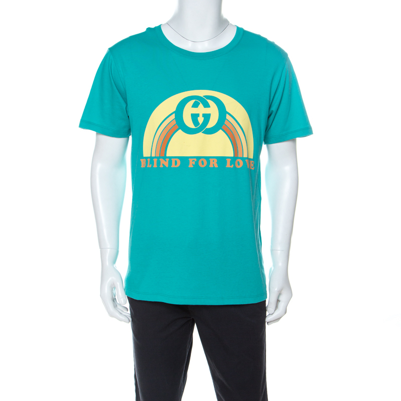 Gucci Aqua Green Cotton Blind For Love Printed T-Shirt M