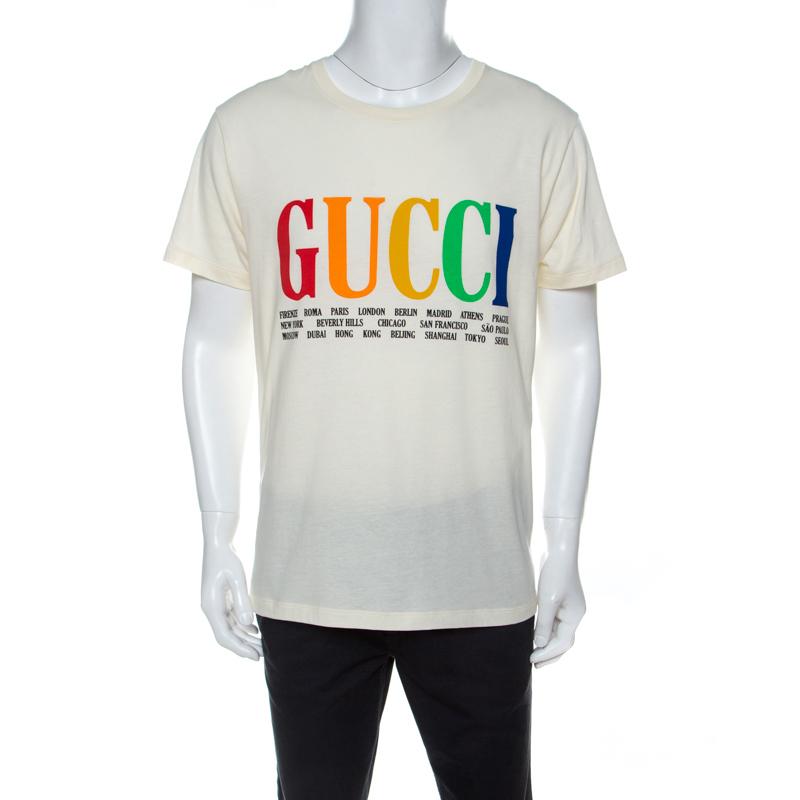 Gucci Cream Cotton Logo Cities Print T-Shirt M
