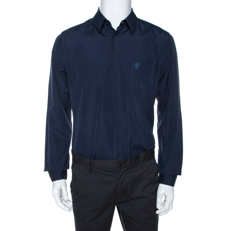 Gucci Midnight Blue Cotton Long Sleeve Classic Fit Shirt XL