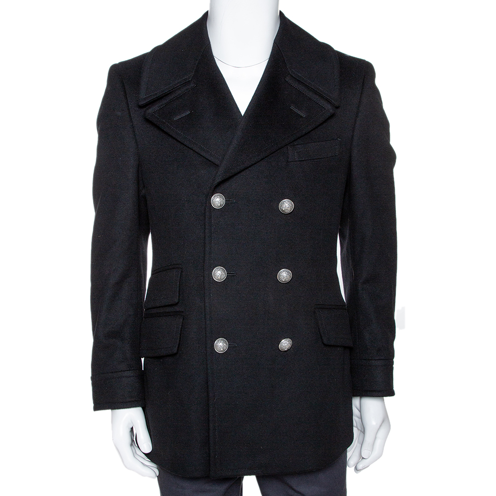 Gucci Black Felt Wool Double Breasted Coat S