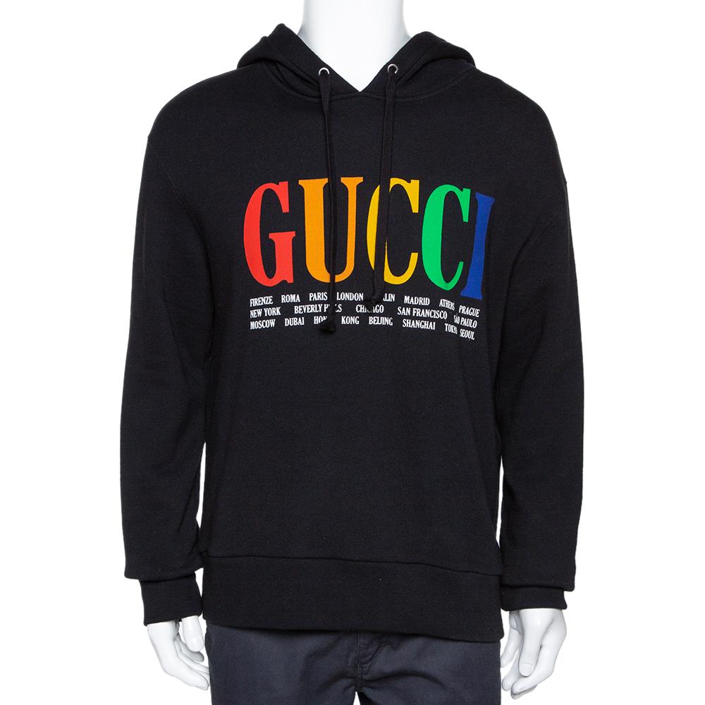 Gucci Black Gucci Cities Print Cotton Hooded Sweatshirt M