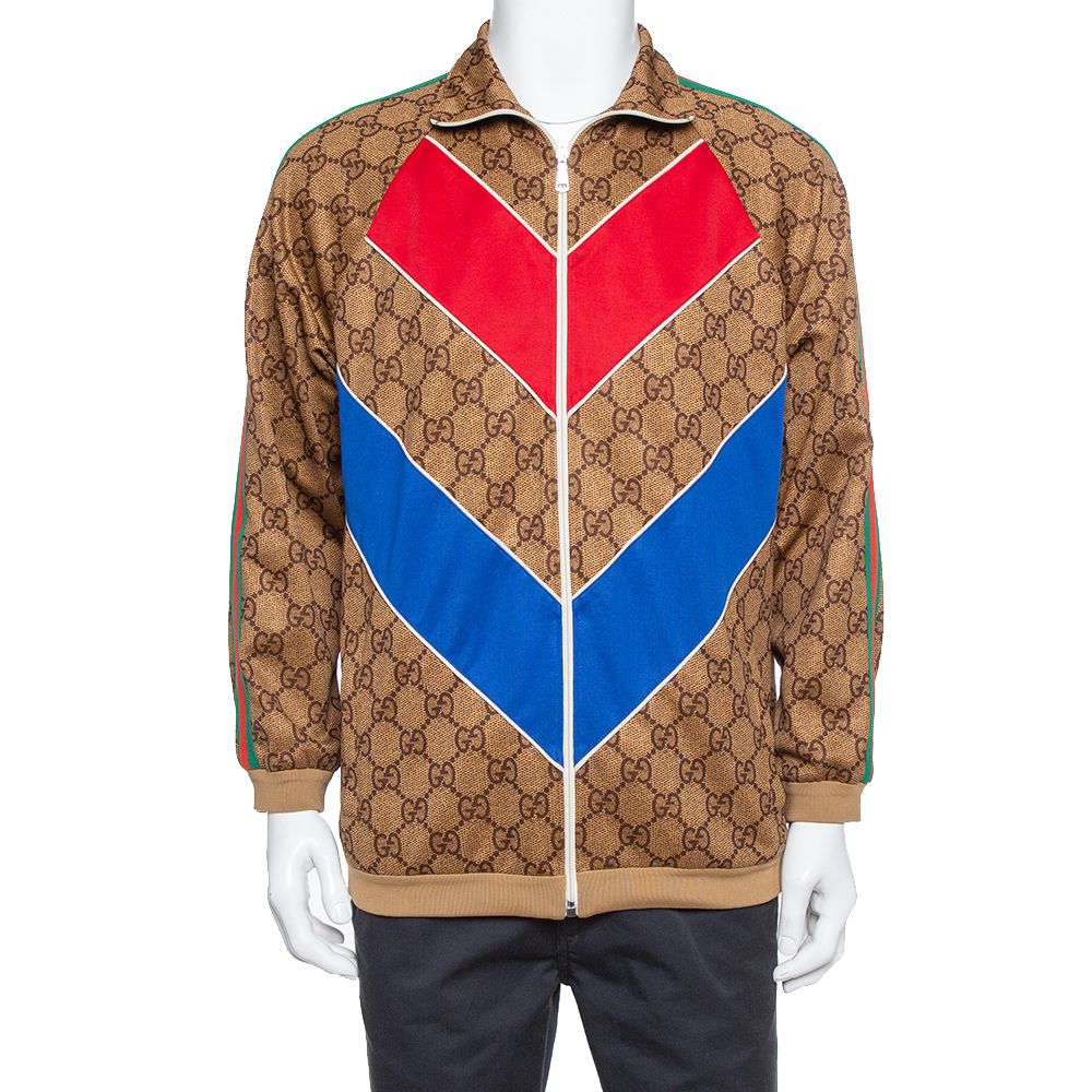 Pre-owned Gucci Ssima Logo Technical Jersey Jacket Xs In Beige