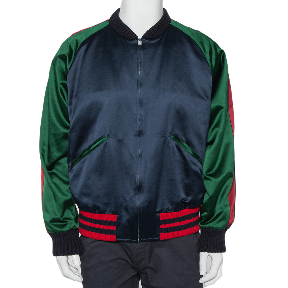 Pre-owned Gucci Multicolor Silk Satin Panther Applique Detail Bomber Jacket Xxl