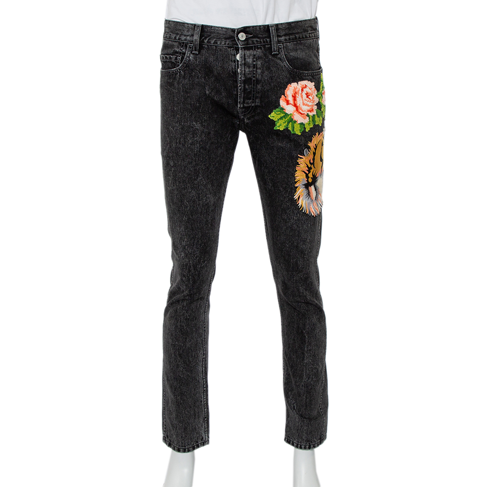 Pre-owned Gucci Charcoal Grey Denim Tiger & Floral Applique Tapered Jeans M