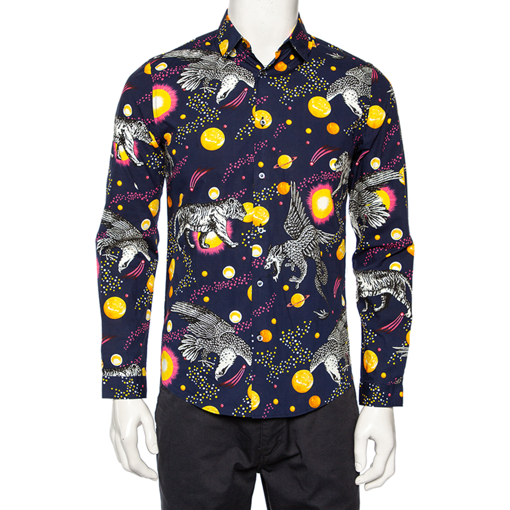 Pre-owned Gucci Navy Blue Planets & Animals Printed Cotton Button Front Shirt S