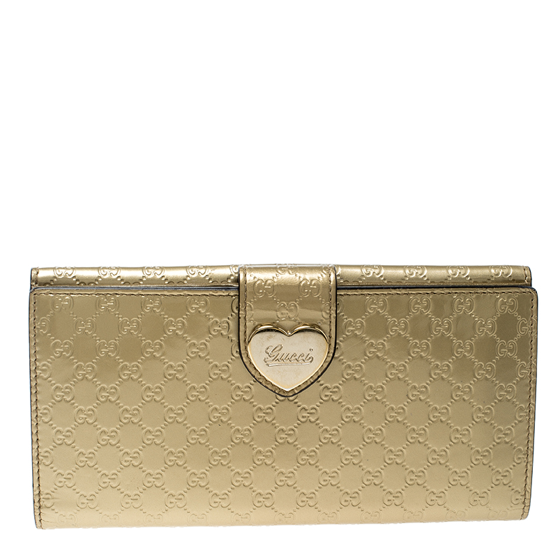 1eef07fce83 ... Continental Wallet Nextprev Prevnext. Gucci Gold Guccissima Patent  Leather Heart Continental Wallet