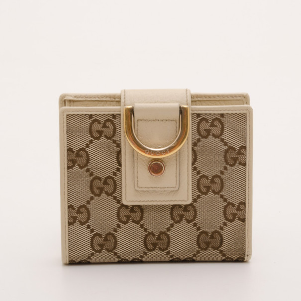 6386c0a6001 Gucci White And Beige Gg Canvas New Abbey French Wallet 37217 At