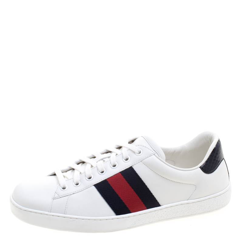 f011672ef00 Buy Gucci White Leather Python Trim Web Detail Ace Low Top Sneakers ...
