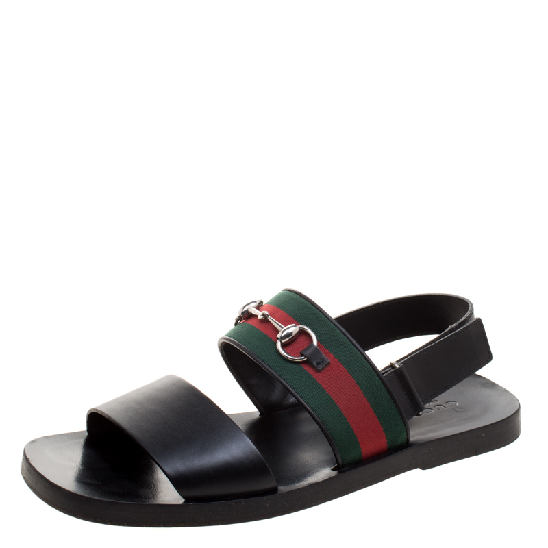 f9781555f Buy Gucci Black Leather Horsebit Web Sandals Size 45.5 117754 at ...
