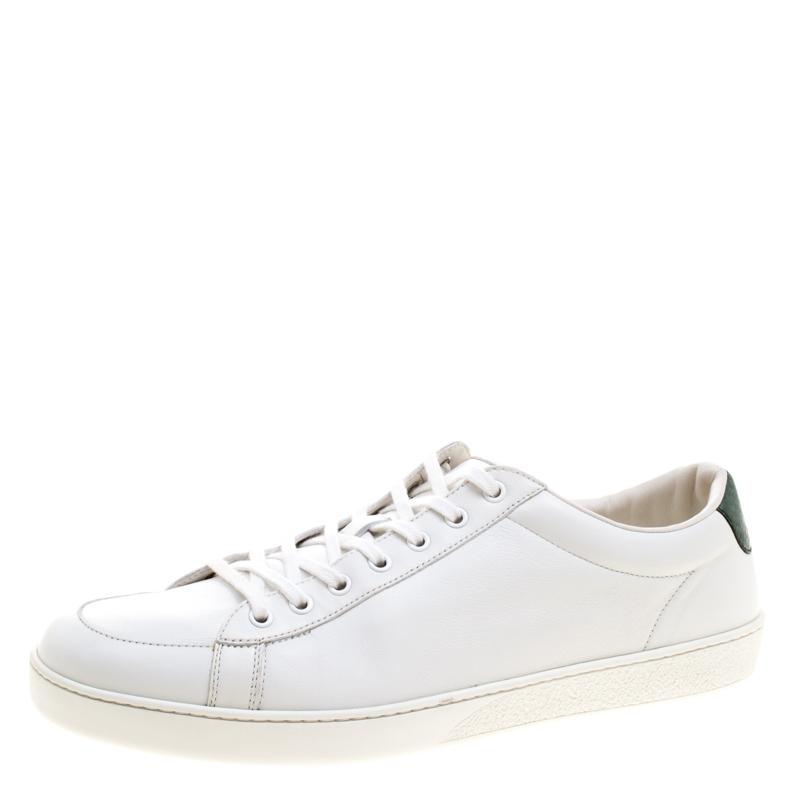 f784a0760e3 ... Gucci White Leather Green Snakeskin Trim Low Top Sneakers Size 46.5.  nextprev. prevnext