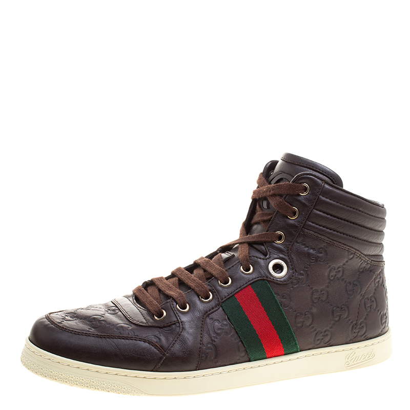 35d706411bb Buy Gucci Brown Guccissima Leather Web Detail High Top Sneakers Size ...