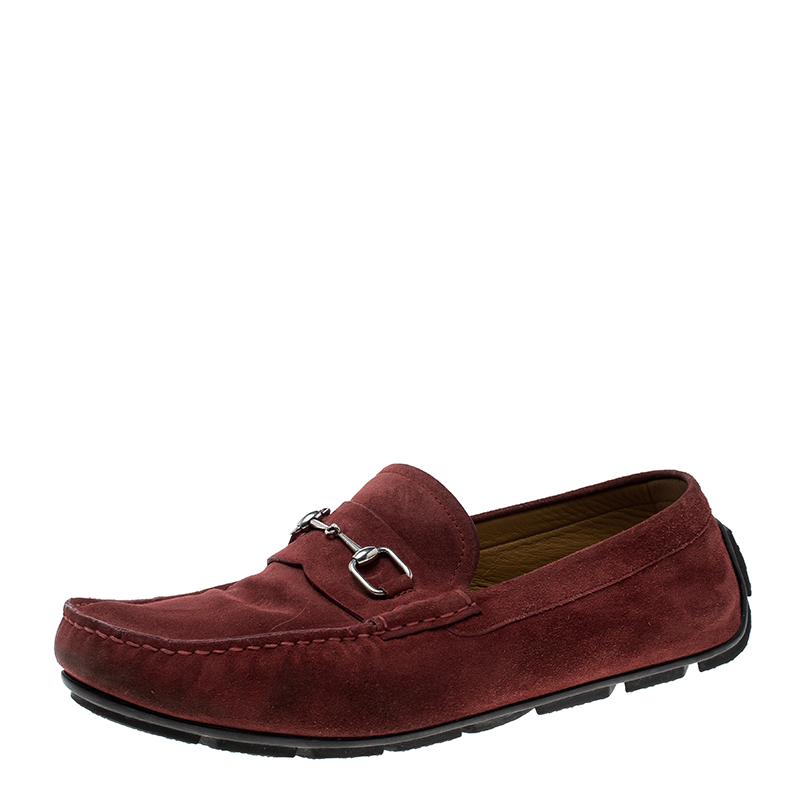 2a01ebd8431b8 Buy Gucci Red Suede Horsebit Loafers Size 44 142872 at best price