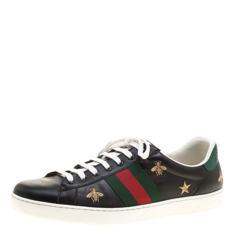 ec66f846aae ... Gucci Black Leather Ace Bees and Stars Embroidered Low Top Sneakers  Size 45.5. nextprev. prevnext