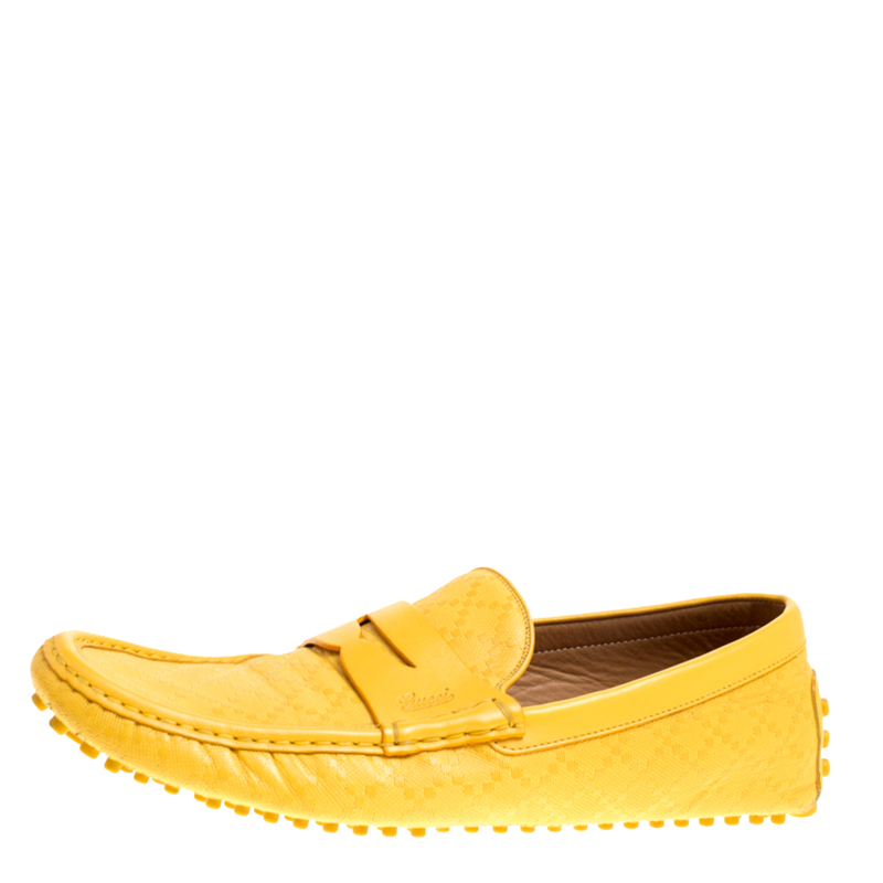 0c3037ebf688 Buy Gucci Yellow Diamante Leather Driver Loafers Size 44.5 147301 at ...