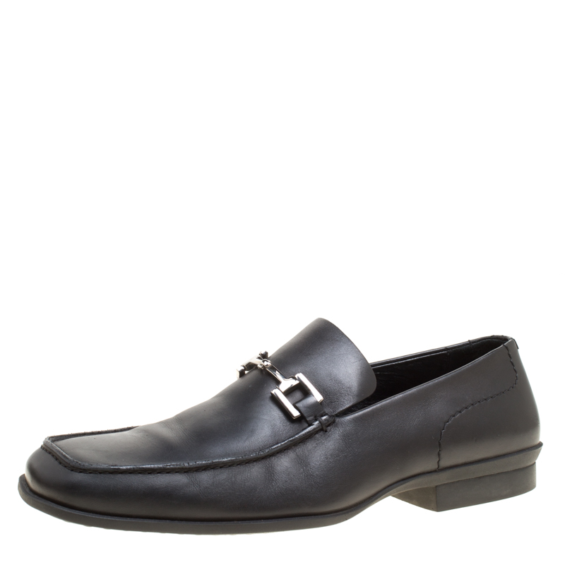 Gucci Black Leather Bit Loafers Size 42.5