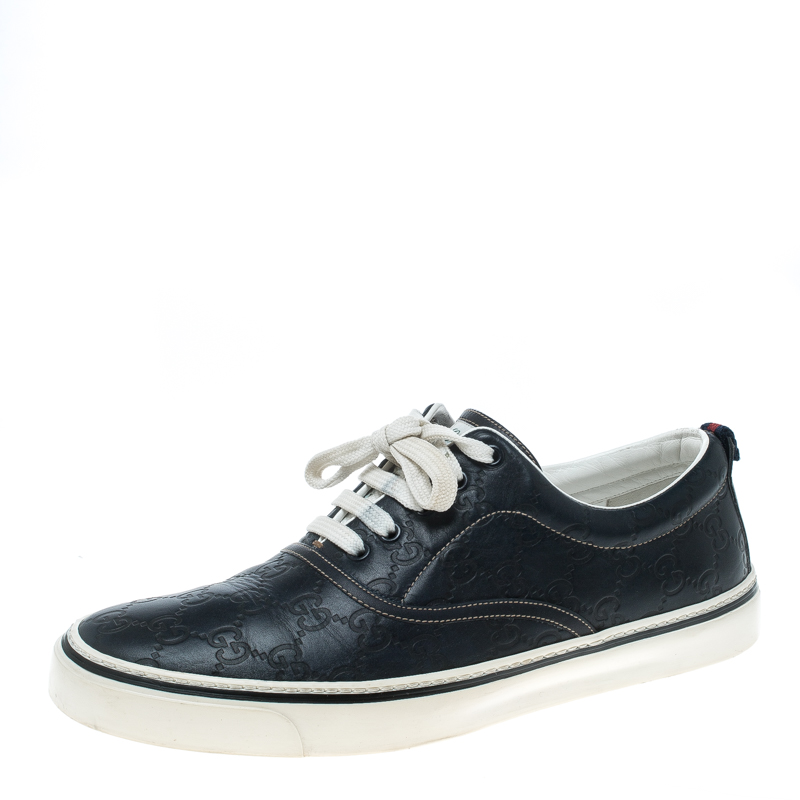 0914184b92e Buy Gucci Navy Blue Guccissima Leather Skippy Low Top Sneakers Size ...