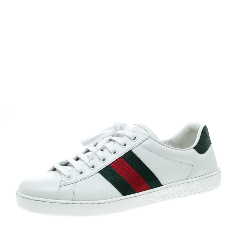 e7049299a Buy Gucci White Leather Croc Trim Web Detail Ace Low Top Sneakers ...