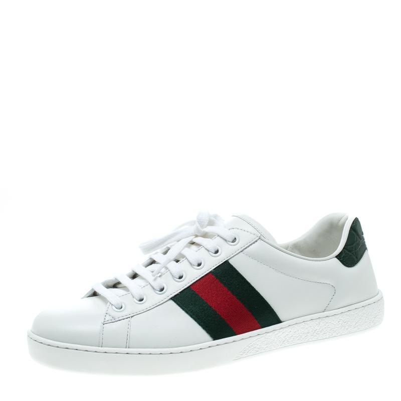 8e64e2520e3 Buy Gucci White Leather Croc Trim Web Detail Ace Low Top Sneakers ...