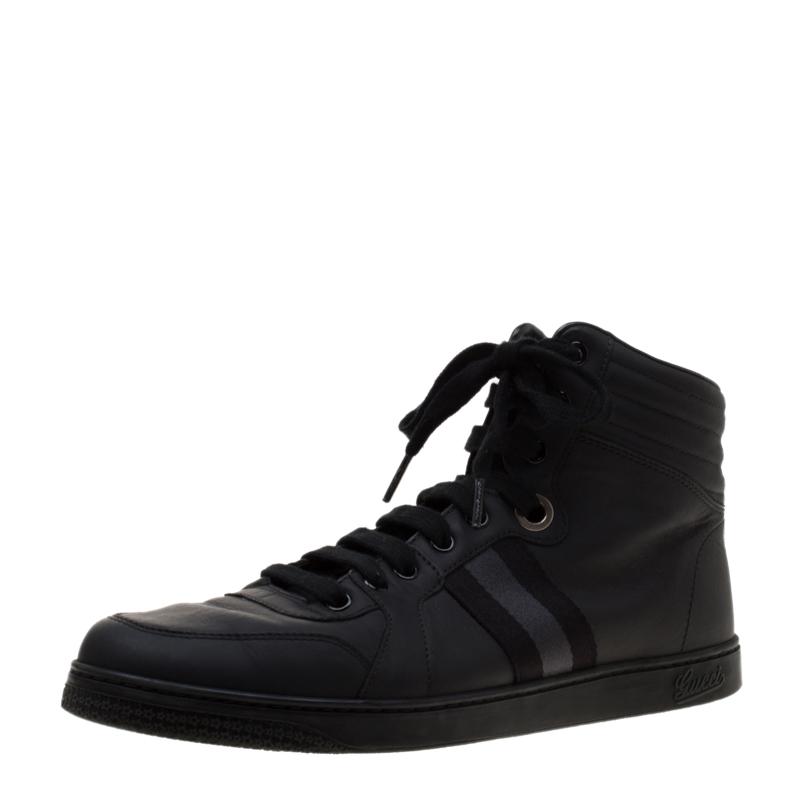 b767414eb11 ... Gucci Black Leather Gucci Viaggio Web Detail High Top Sneakers Size 42.  nextprev. prevnext