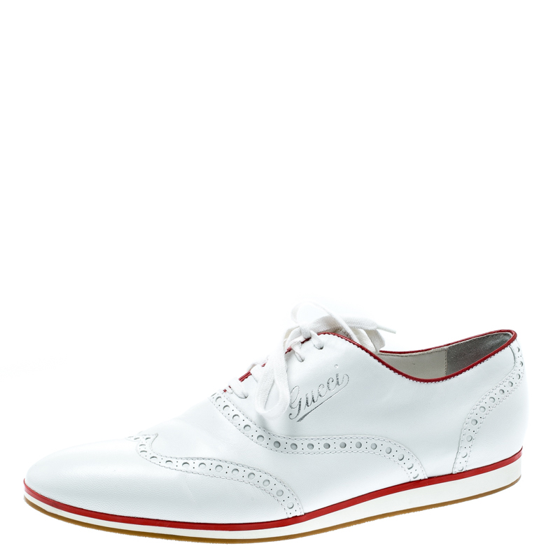 Buy Gucci White Brogue Leather Lace Up Sneakers Size 41 5 193458 At
